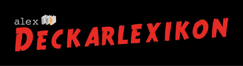 Logotyp med Alex Deckarlexikon  i röda versaler på svart bakgrund