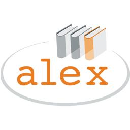 Alex logotyp med Alex i orange text under tre bokryggar, grå elips runt bilden