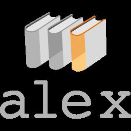 Alex logotyp med Alex i grå text under tre bokryggar